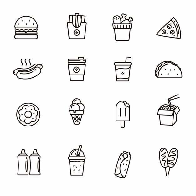 汉堡薯条肯德基全家桶披萨热狗咖啡奶茶冰淇淋等西餐黑色线条图标114109免抠图片素材