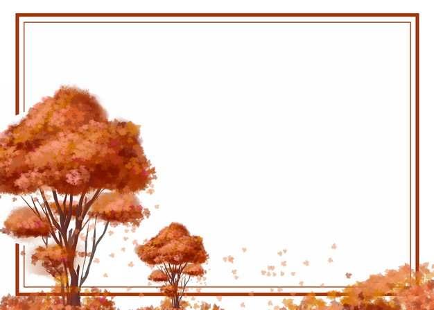 深秋时节变红的大树和灌木丛边框471662png图片素材