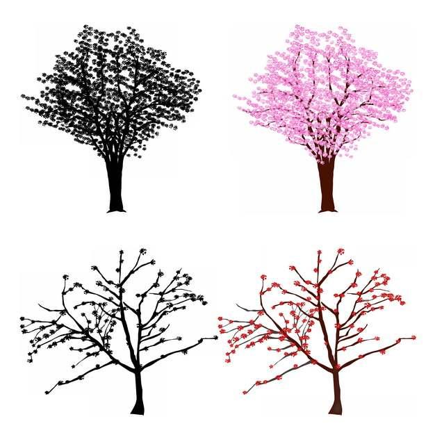 四款彩色大树412468png图片素材
