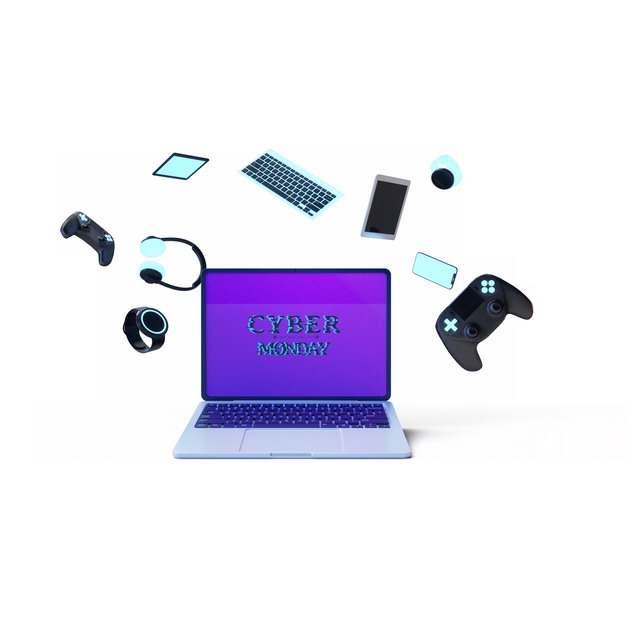 网上购物节的飞舞的键盘笔记本电脑手机耳机游戏机等706314图片素材