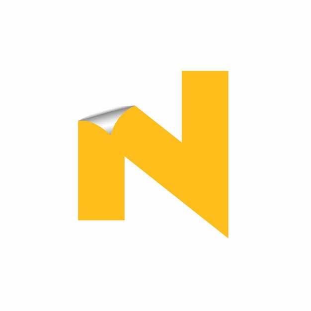 3D立体翘边贴纸黄色大写字母N字体logo设计203638EPS免抠图片素材