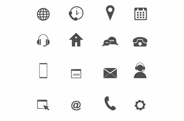 互联网24小时服务定位日历客服电话手机网址邮件388680等矢量图标图片素材