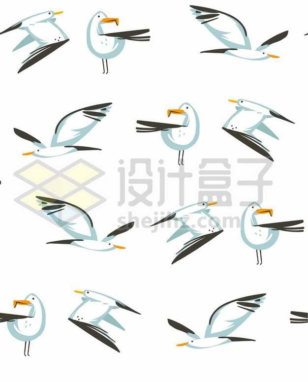 十二款手绘风格海鸥信天翁海鸟插画526243图片免抠矢量素材