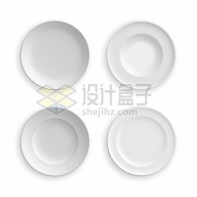 4款白色的瓷器盘子638070矢量图片免抠素材
