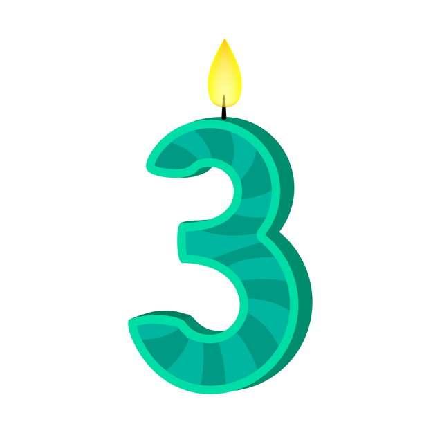 三周岁生日快乐生日蜡烛数字蜡烛400846免抠图片素材