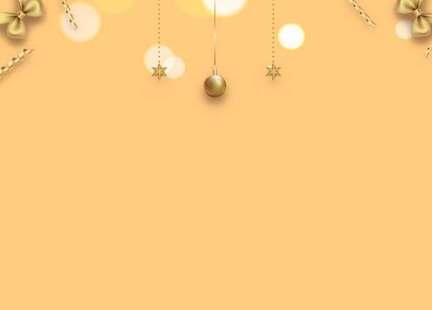 金色圣诞球五角星圣诞节装饰黄色背景图片素材815767