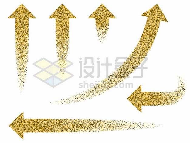 六款金粉风格的方向箭头960833图片免抠矢量素材