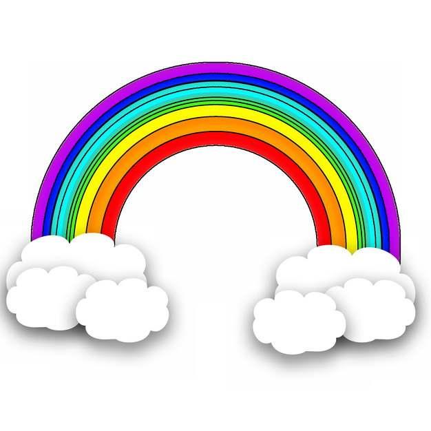 卡通白云和七彩虹彩色插画845407png图片素材