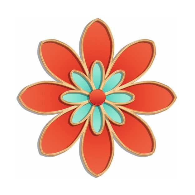 国潮金色浮雕风格红色花朵339219png图片素材