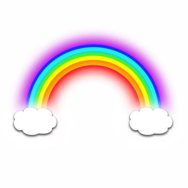 卡通白云和发光的七彩虹图案866365png图片素材