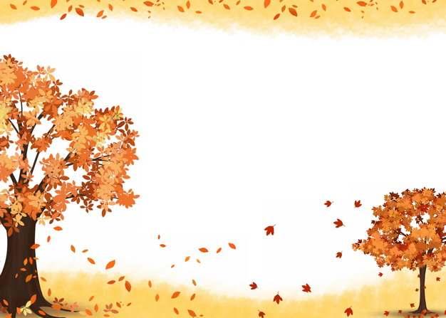 深秋时节变红的大树和飘落的红叶组成的边框889718png图片素材