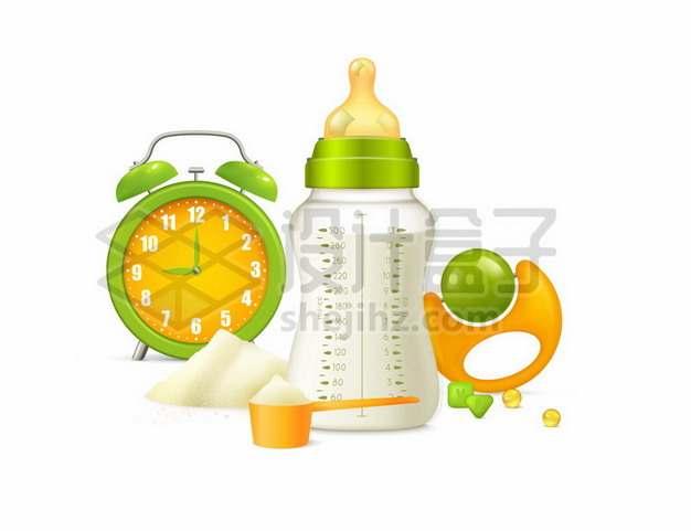 闹钟和绿色橙色宝宝婴儿奶瓶玻璃奶瓶育儿用品155697eps矢量图片素材