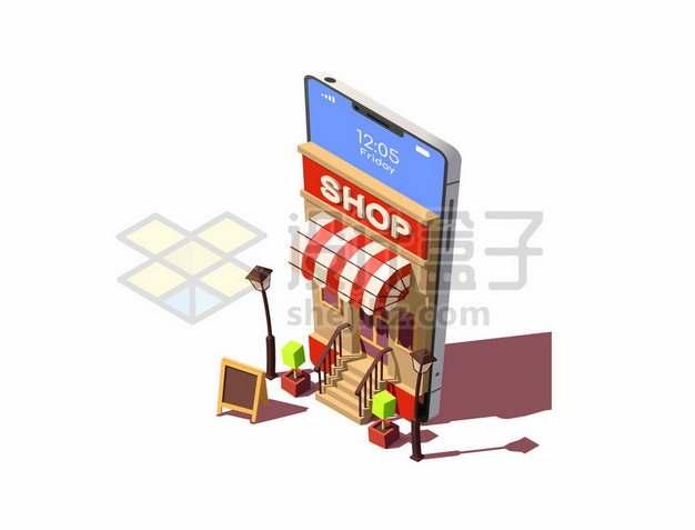 3D风格手机造型的商店大门网上开店电商服务307605图片免抠矢量素材