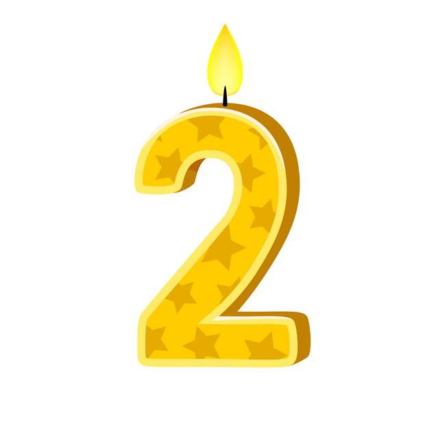 二周岁生日快乐生日蜡烛数字蜡烛120985免抠图片素材