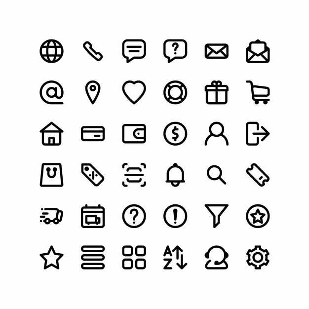 36款黑色线条风格网络客服对话用户等280186矢量图标图片素材