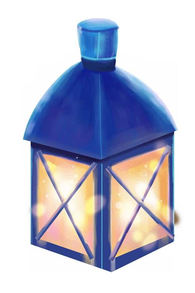 一盏发光的复古油灯彩绘插画976266图片素材