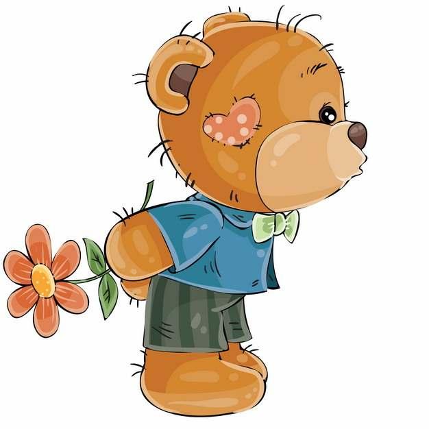 卡通玩具熊拿着鲜花情人节401249EPS免抠图片素材