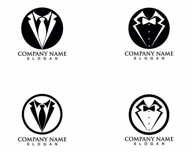 4款黑白色领带领结logo826147矢量图片素材