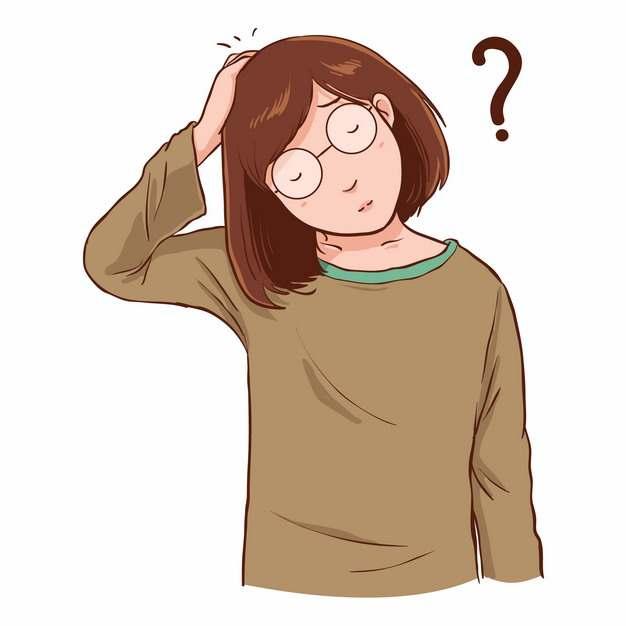 卡通戴眼镜的女孩摸头充满了疑问插画899727图片素材
