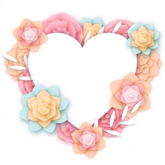 3D立体浮雕风格花朵组成的心形文本框标题框信息框851441png图片素材