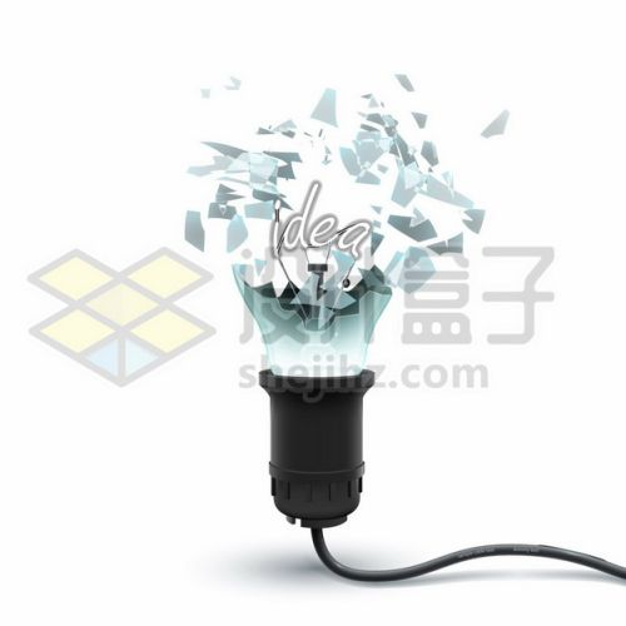 一个外壳破碎的电灯泡白炽灯914047图片免抠矢量素材