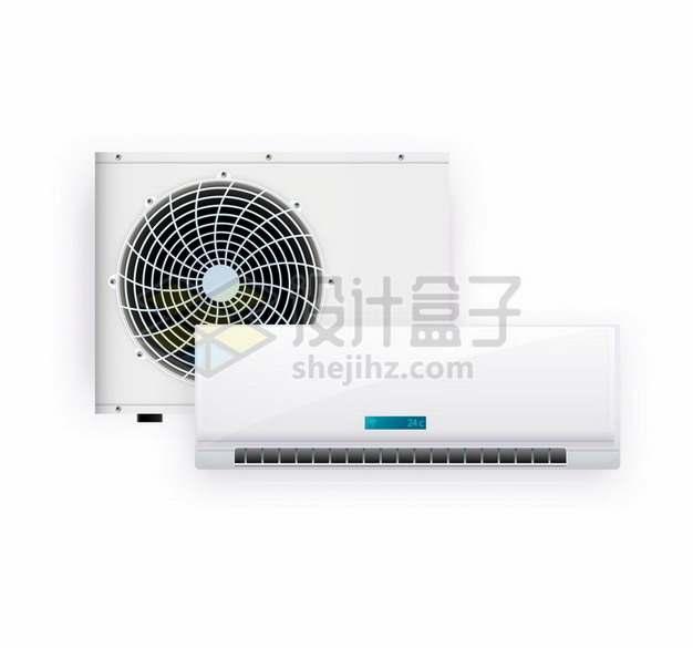 白色的变频空调外机和室内机754423矢量图片免抠素材