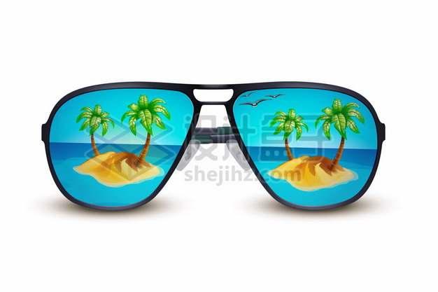 太阳眼镜镜片上的海岛热带旅游760526图片免抠矢量素材