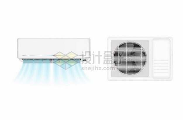 吹出蓝色风的空调室内机和空调室外机345818矢量图片免抠素材