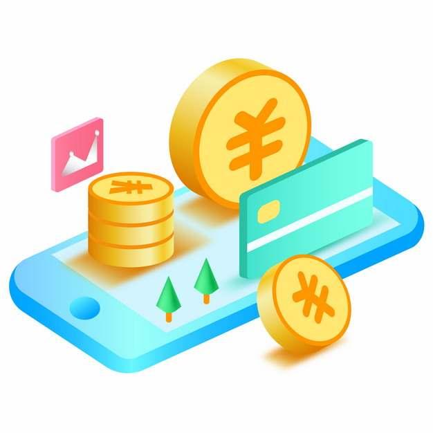2.5D风格蓝色手机上的金币和银行卡电商插画466584图片素材
