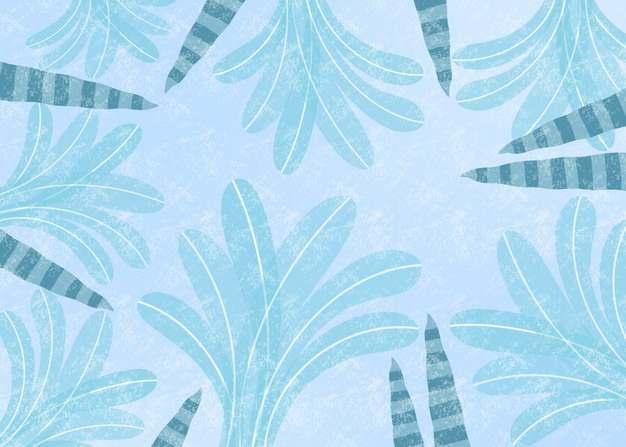 手绘风格树叶冬天淡蓝色背景图片素材219321