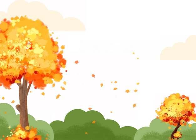 深秋时节变黄的大树和落叶以及绿色的灌木丛410827png图片素材