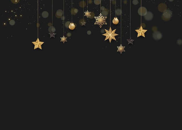 金色五角星雪花圣诞灯等圣诞节黑色背景图片素材293069 背景-第1张