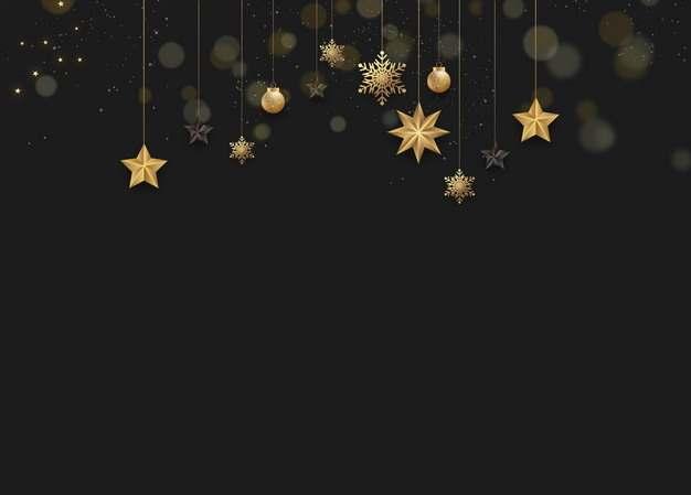 金色五角星雪花圣诞灯等圣诞节黑色背景图片素材293069