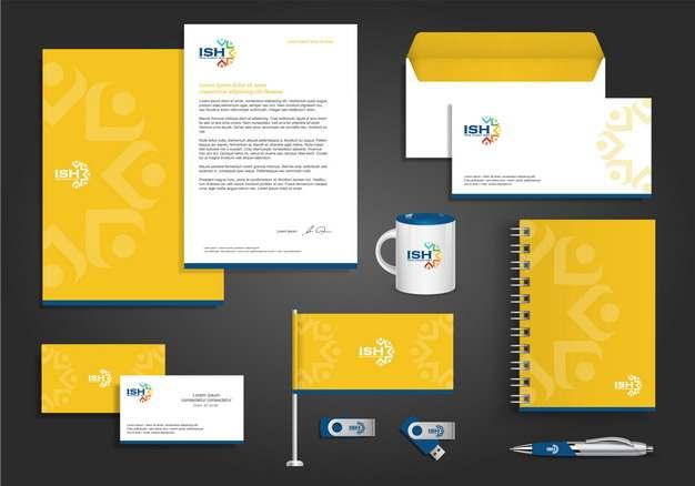 黄色合同信封杯子旗帜名片笔记本等企业VI设计模板848454图片素材
