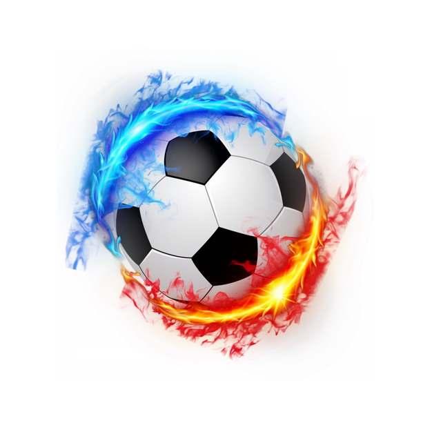 蓝色和红色火焰冰与火包裹着的足球988766png图片素材