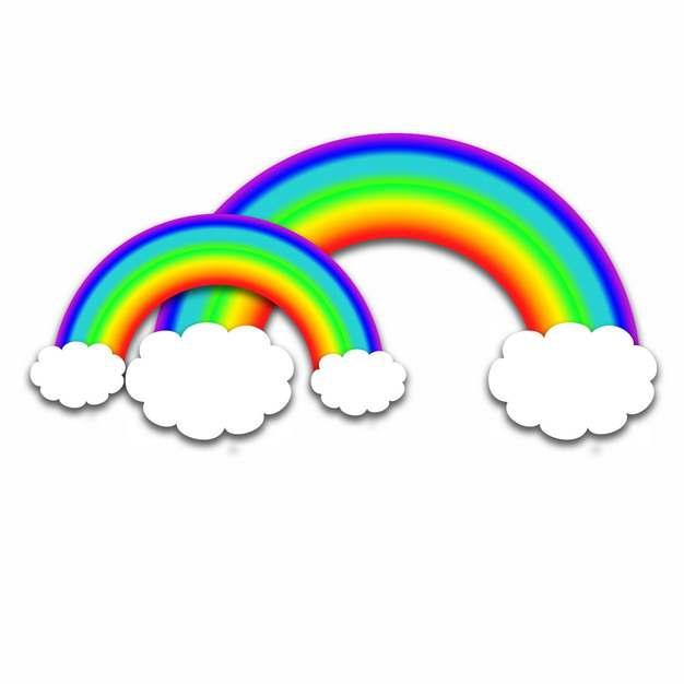 卡通白云和美丽的七彩虹插画555873png图片素材