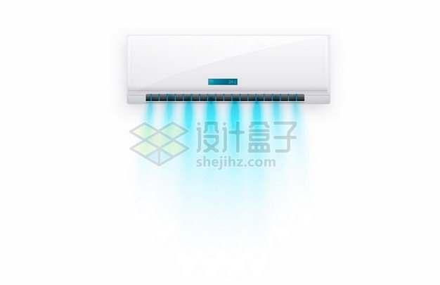吹出蓝色新鲜空气的白色变频空调室内机632392矢量图片免抠素材