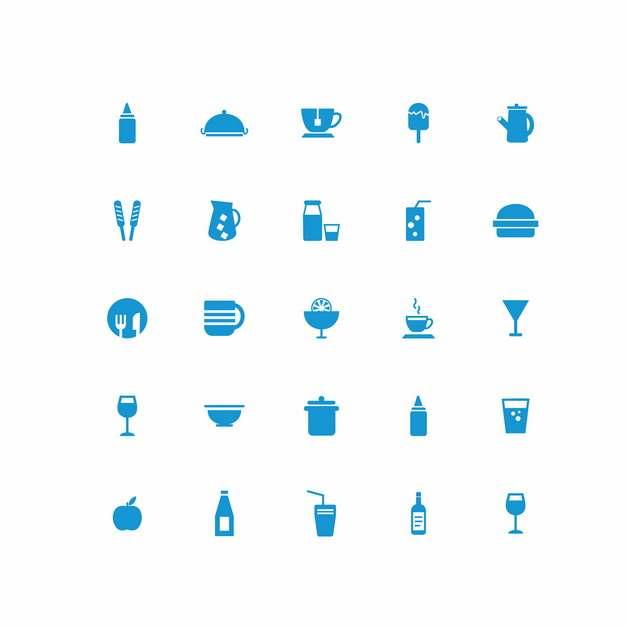 二十五款水果果汁牛奶餐具炊具杯子等厨房用品蓝色图标111975免抠图片素材