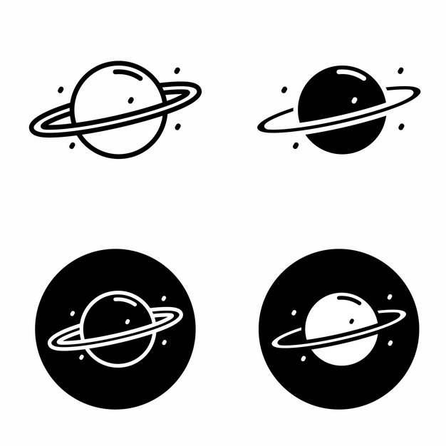 4款黑白色的自带光环的土星等气态行星270919png图片素材