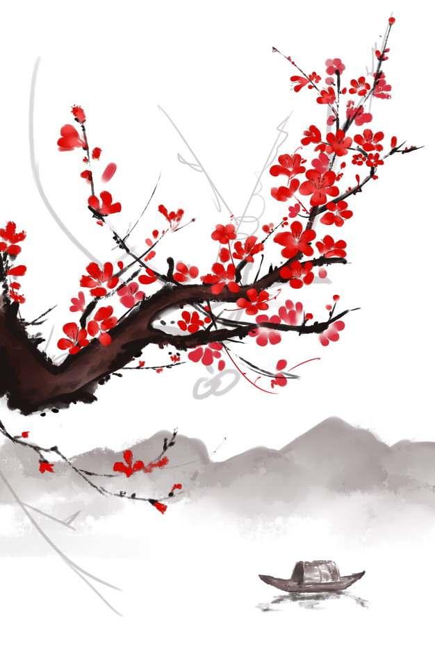 彩色水墨画风格近处枝头上的梅花和远处的高山孤舟796919png图片素材