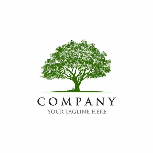 参天大树绿树logo设计图案140145EPS免抠图片素材