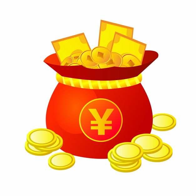 红色钱袋子中的金币和金色钞票904565图片素材