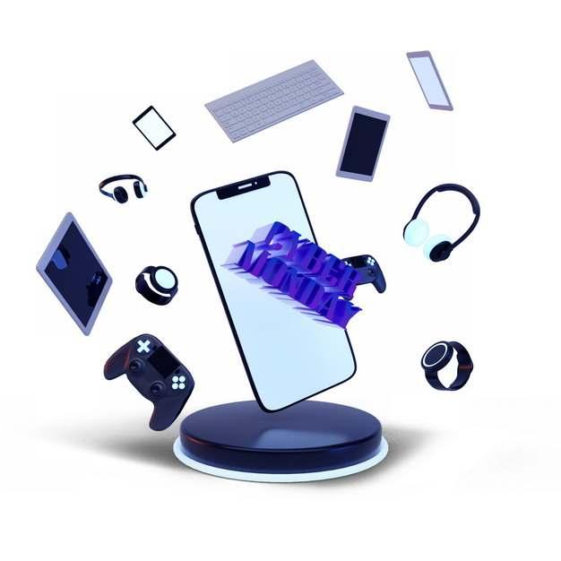 网上购物节的飞舞的智能手表键盘手机耳机游戏机等541663图片素材