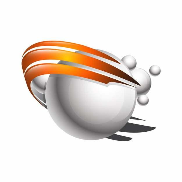 创意白色圆球和橙色光环科技风格logo设计元素704460图片免抠素材