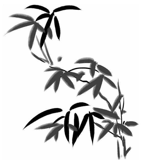 黑色竹叶水墨画毛笔画653929png图片素材