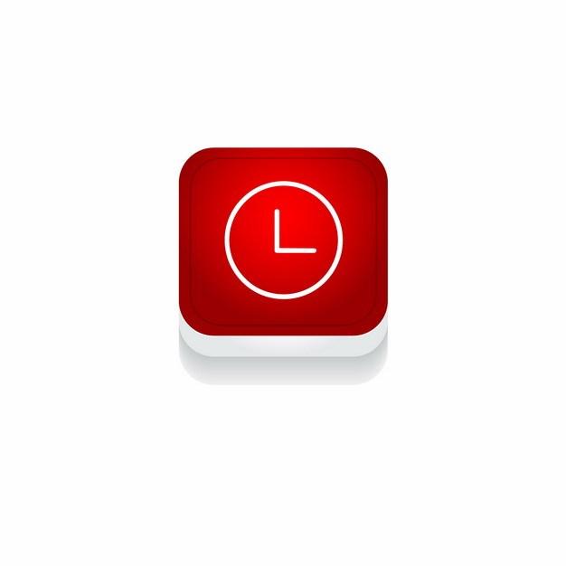 红色时钟3D立体圆角图标651114免抠图片素材 图标-第1张