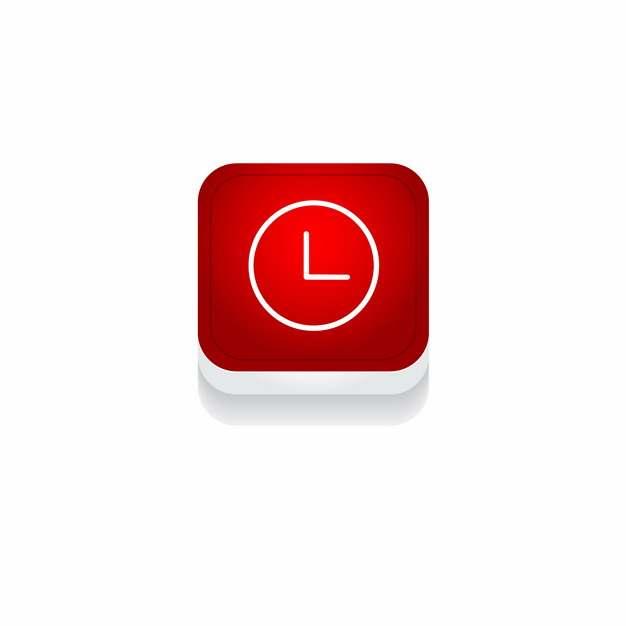 红色时钟3D立体圆角图标651114免抠图片素材