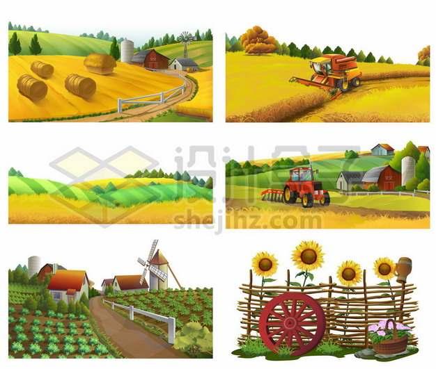 六款秋收季节的农村农忙场景风景图145989图片免抠矢量素材