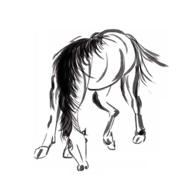 黑色水墨画低头吃草的骏马手绘插画556398png图片素材