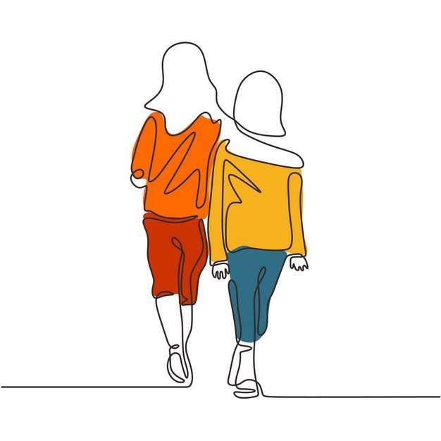 彩色搂在一起走路的闺蜜好朋友手绘线条插画540449图片素材